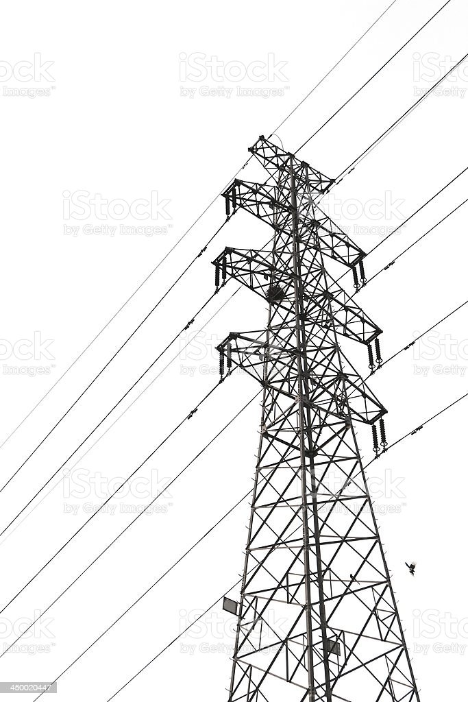 High Voltage Tower in white background stock photo