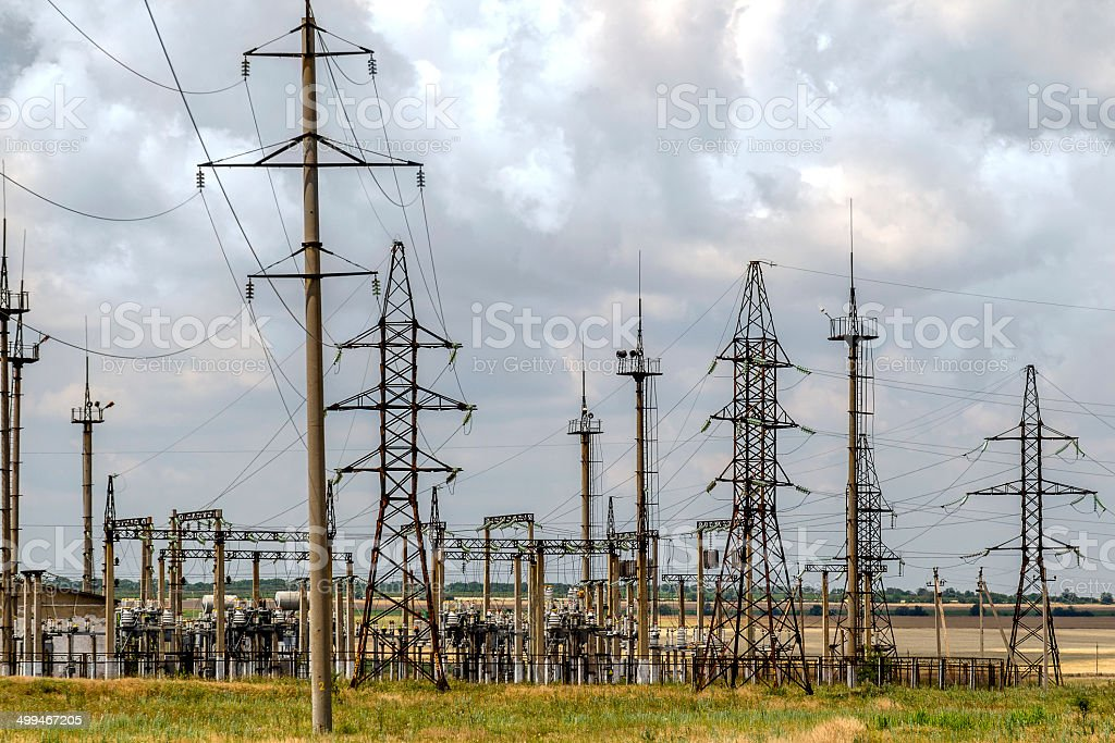 High voltage tower on a lot of down-junction power station royalty-free stock photo