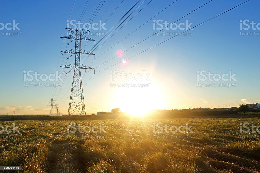 High Voltage Tower on Sunset stock photo