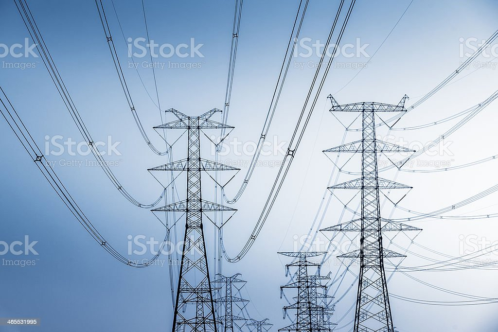 High Voltage Tower stock photo