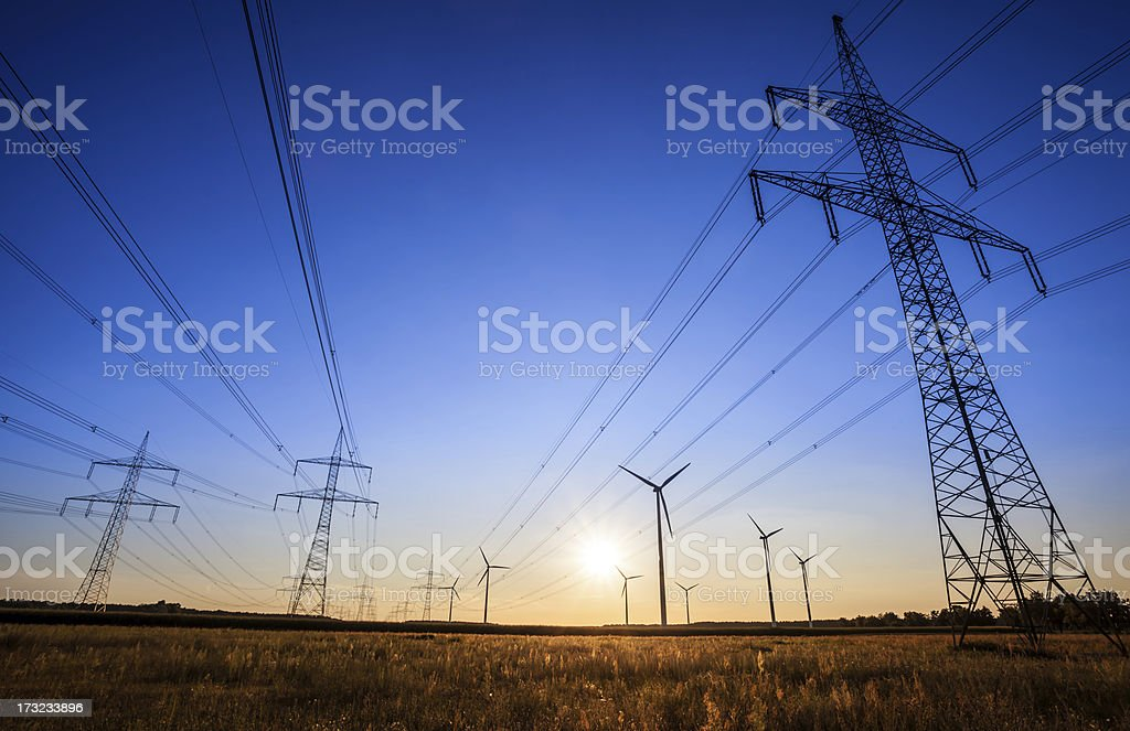 High Voltage Tower - sunset royalty-free stock photo