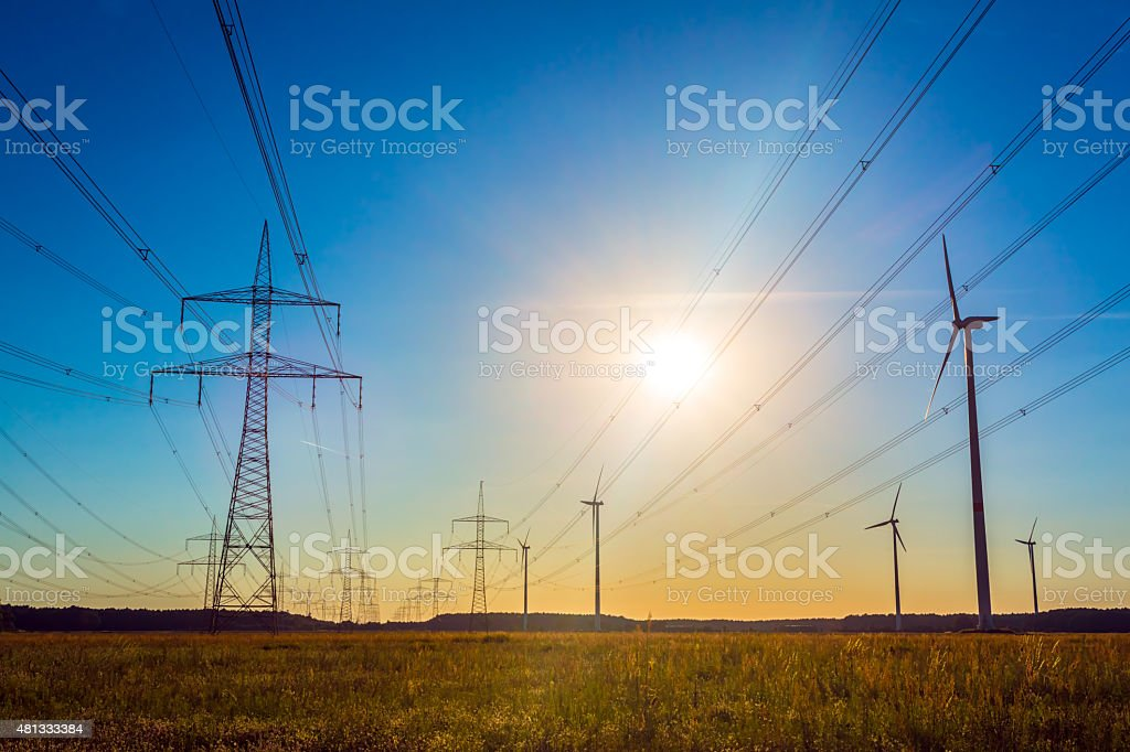 High Voltage Tower - sunset stock photo