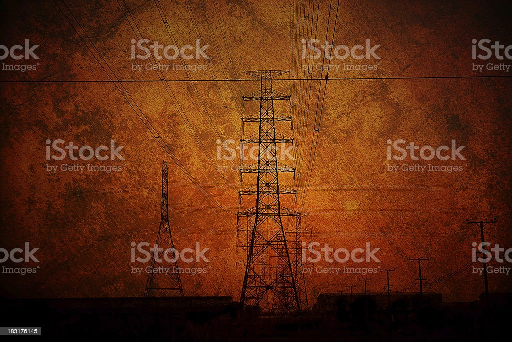 High voltage towers. royalty-free stock photo