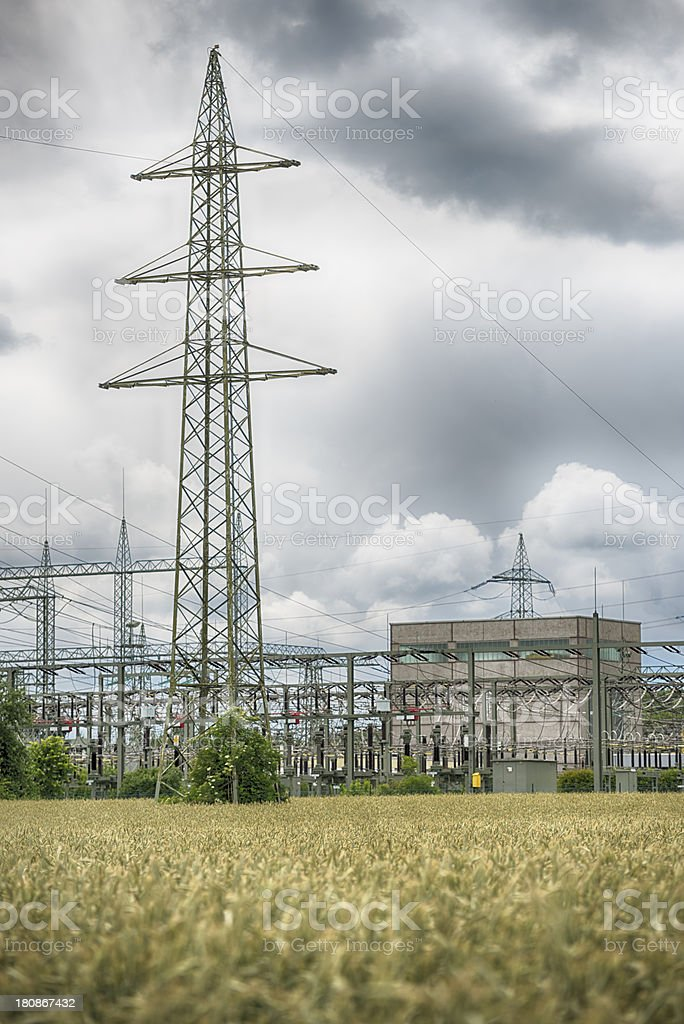 High Voltage Transformer Station Energiewende royalty-free stock photo