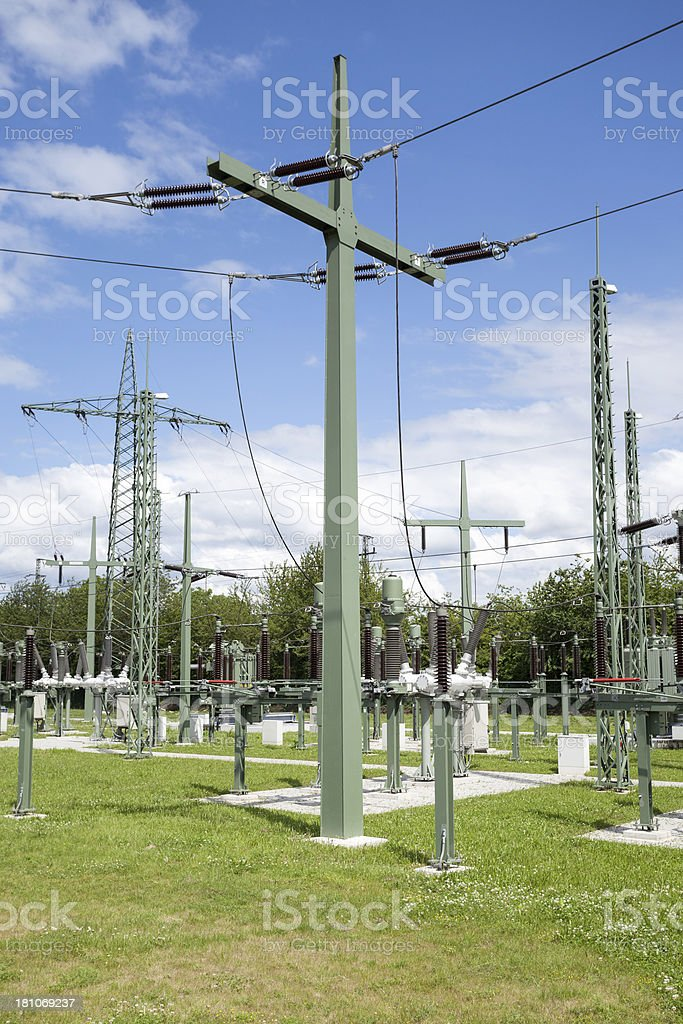 High voltage transformer station royalty-free stock photo