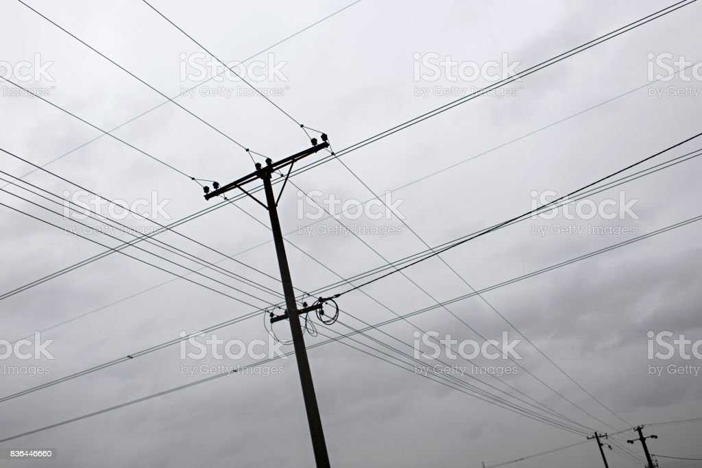 High voltage transmission lines stock photo