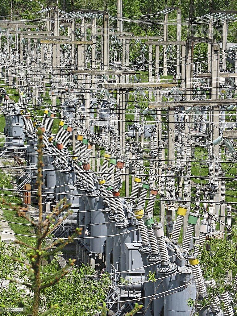 Transmissão de alta tensão potência linhas foto de stock royalty-free