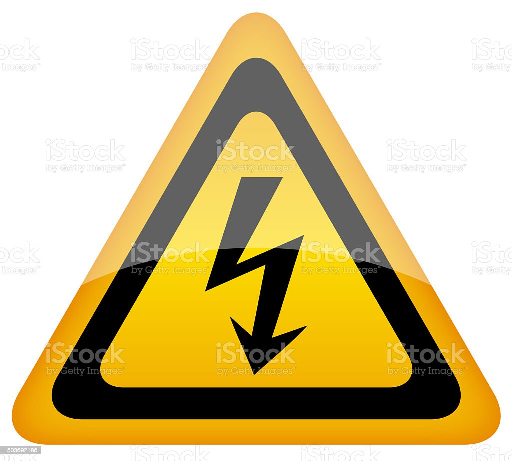 High voltage warning sign vector art illustration