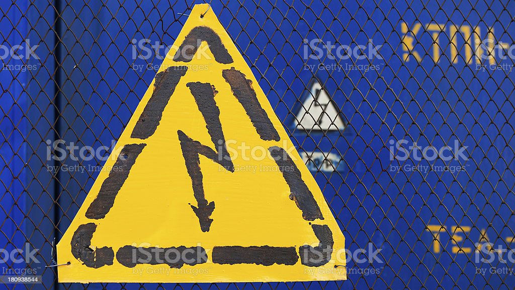 High voltage yellow sign royalty-free stock photo