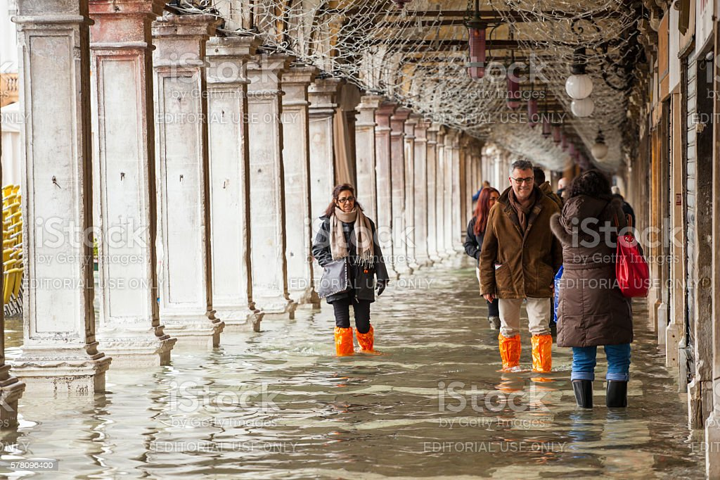 High water in Venice, Italy. stock photo
