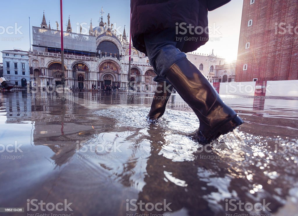 acqua alta in venice royalty-free stock photo