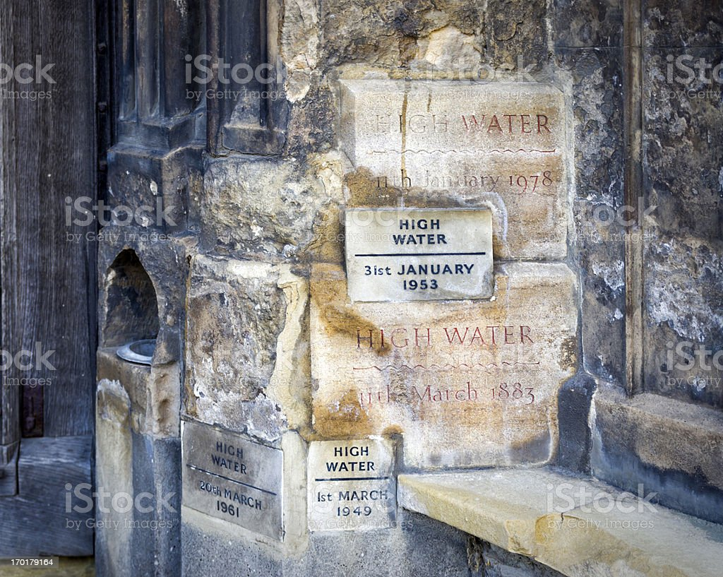 High water marks on King's Lynn Minster royalty-free stock photo