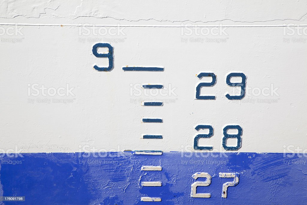 High Water Marks on Ship Hull, Weathered With Rust stock photo
