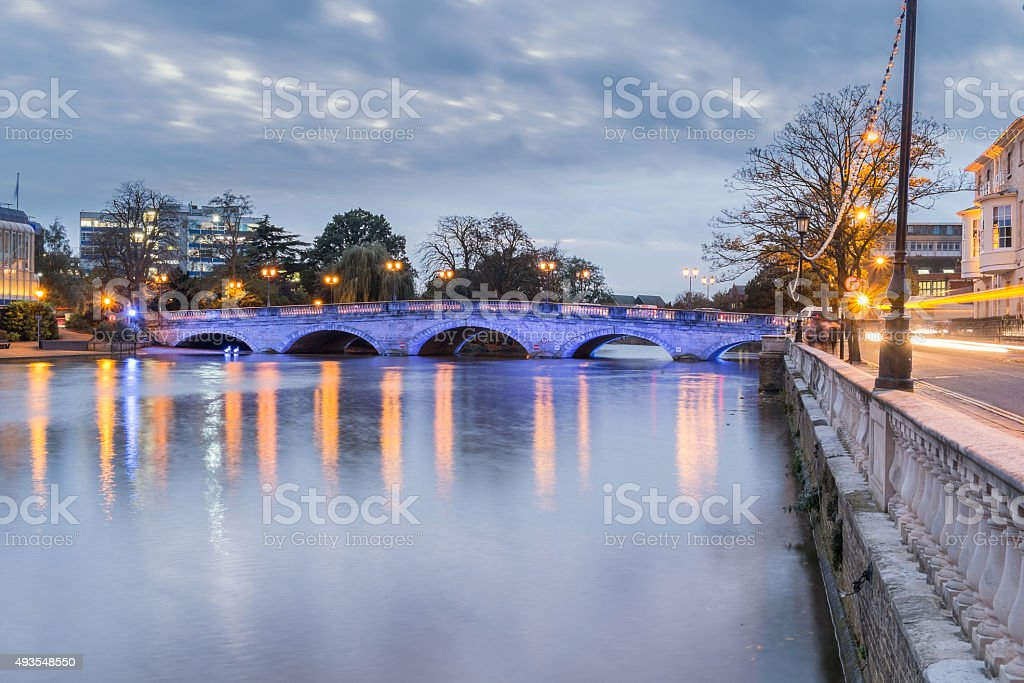 High water on the Great Ouse in Bedford stock photo