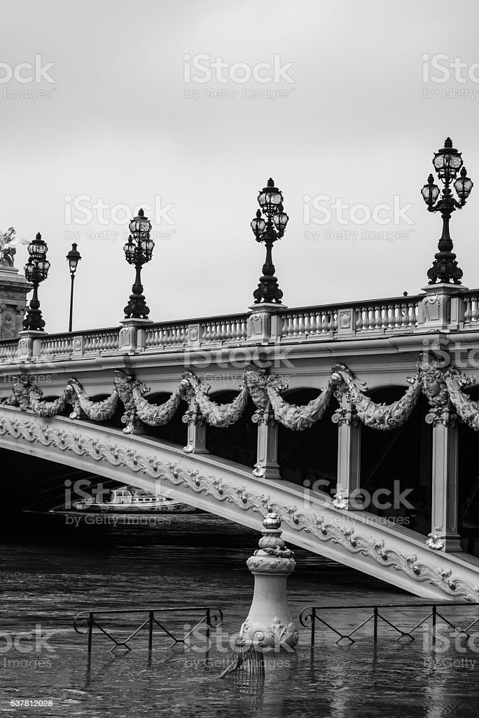 High water under Pont Alexandre III stock photo