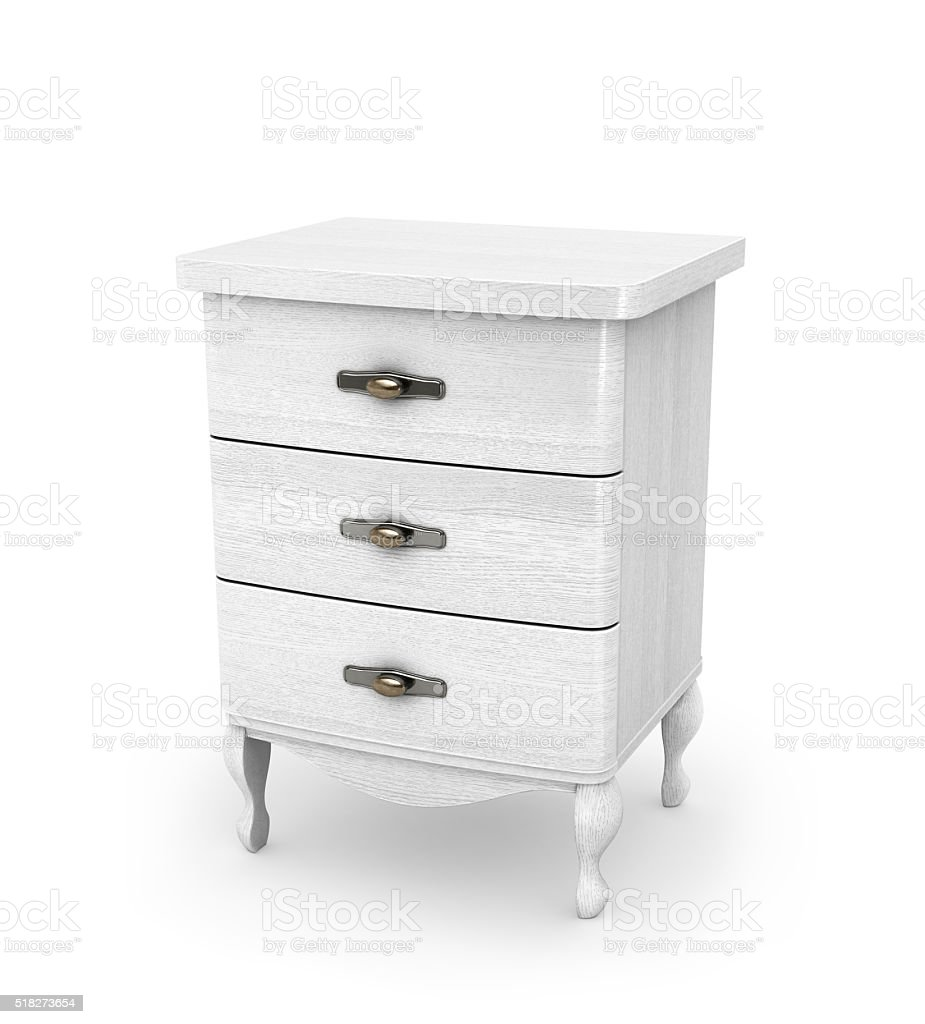 High white cabinet on legs stock photo