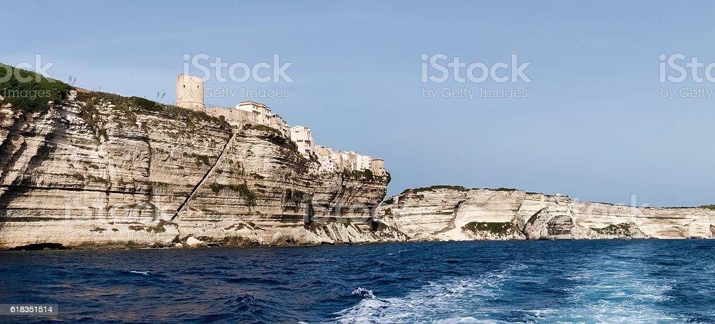 High white cliffs of Bonifacio stock photo