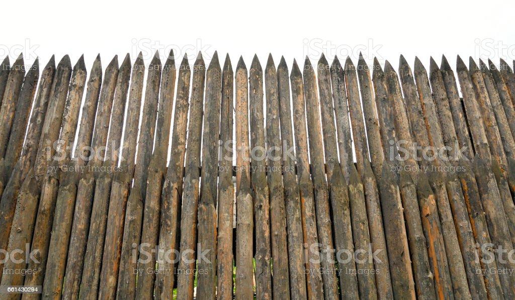 High wooden stockade. stock photo