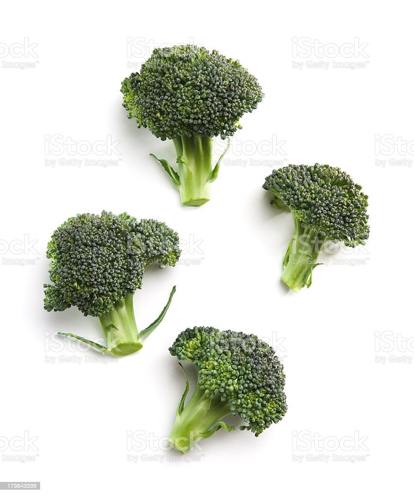 High-angle view of broccoli florets stock photo