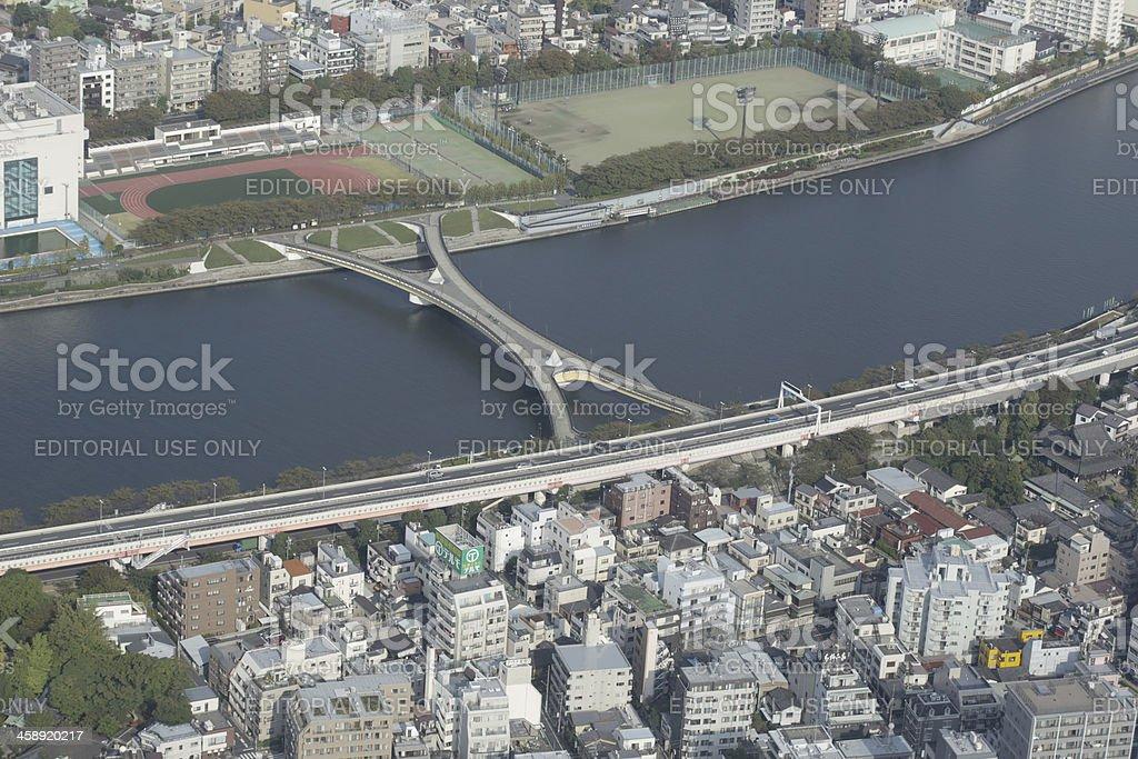 High-Angle View of Sakura-bashi, Sumida River in Tokyo, Japan, Autumn royalty-free stock photo