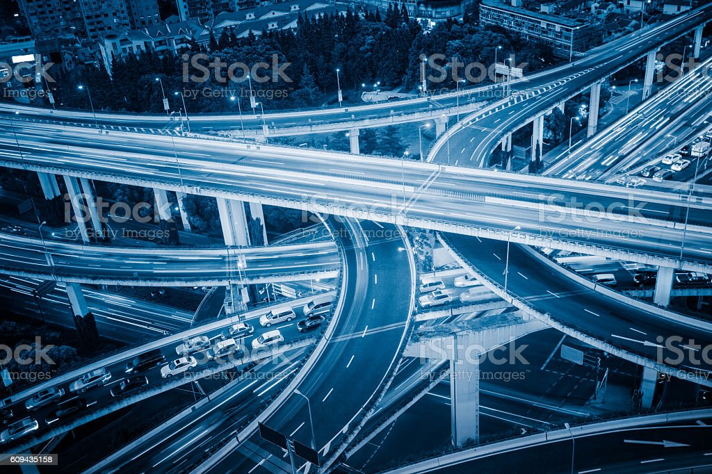 High-angle view of Shanghai Highway in blue tone stock photo