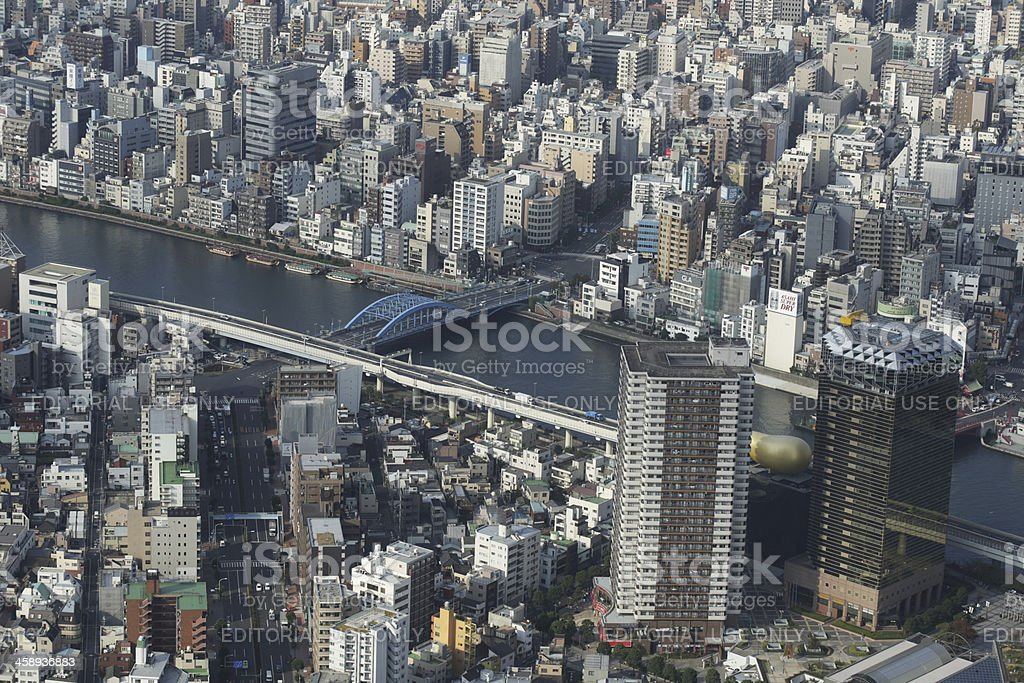 High-Angle View of Sumida River, Tokyo, Japan in Autumn royalty-free stock photo