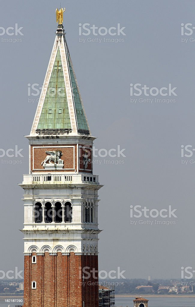 highest and most famous bell tower in Piazza San Marco royalty-free stock photo