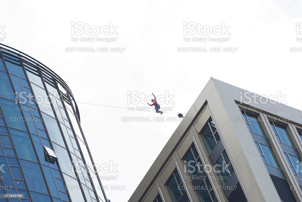 Highest Slackline, Skyscraper Festival, Frankfurt, Germany. royalty-free stock photo
