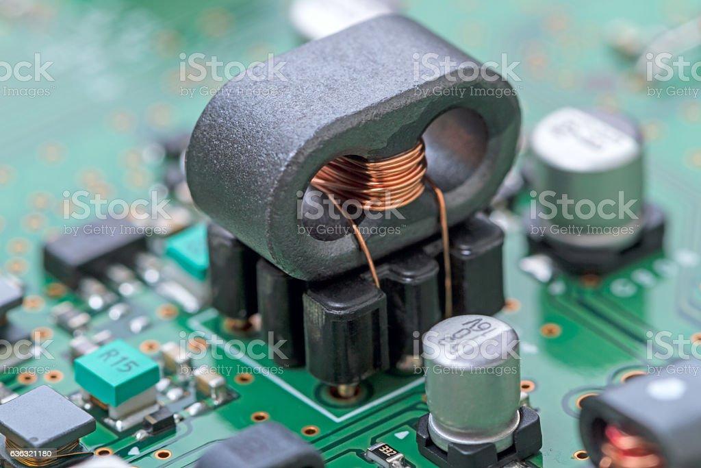 High-frequency ferrite transformer stock photo