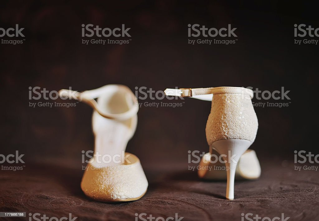 High-heeled Bridal shoes royalty-free stock photo