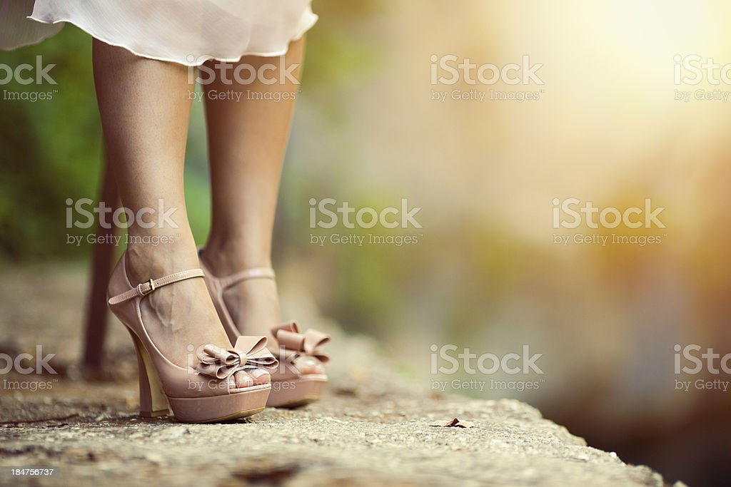 high-heeled women's shoes stock photo