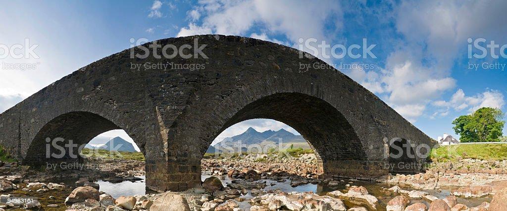 Highland bridge over mountain stream royalty-free stock photo