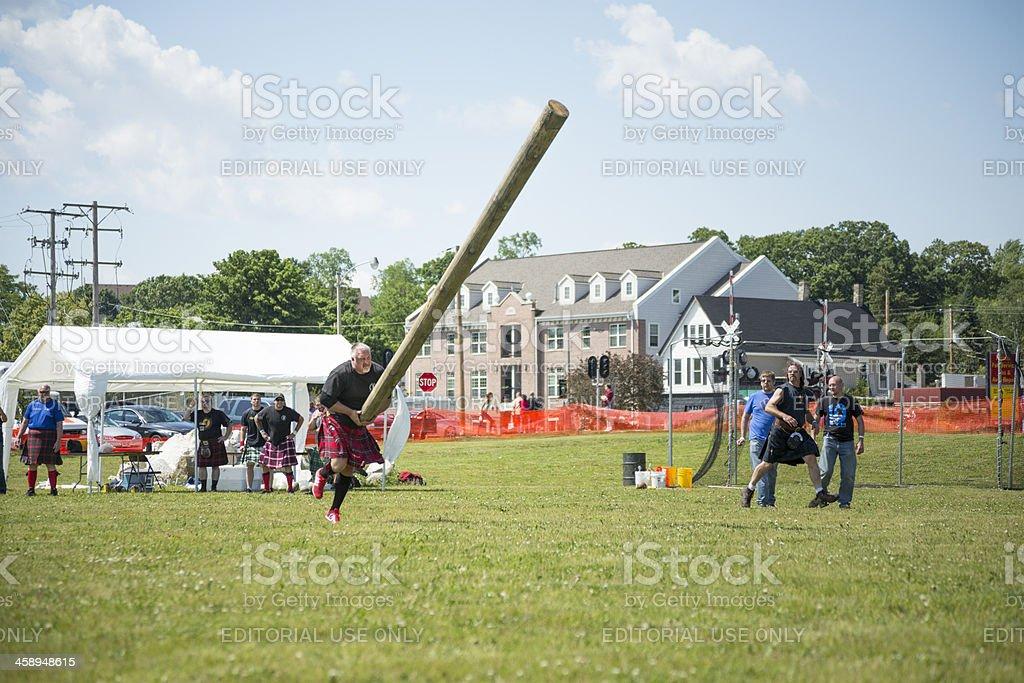 Highland Games - Caber Toss stock photo