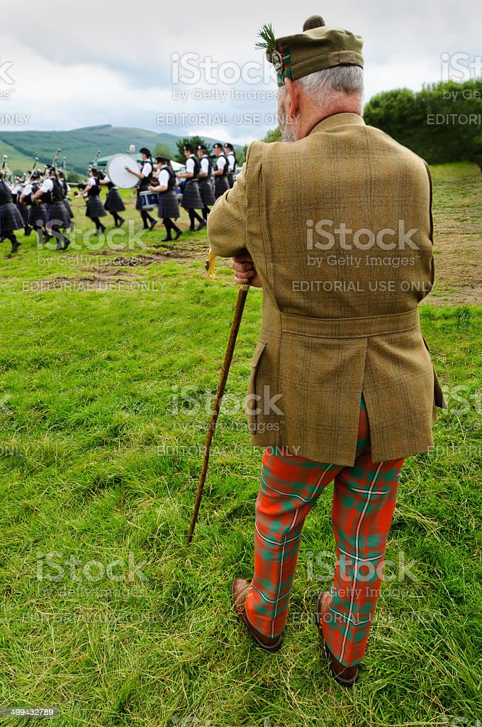 Highland gentleman pipe band. royalty-free stock photo