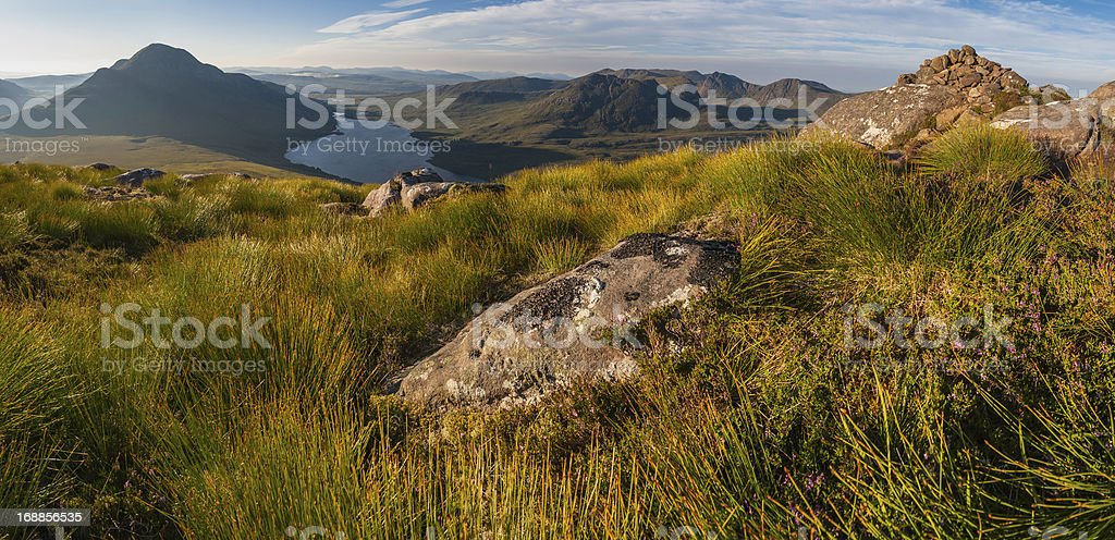 Highland heather mountains idyllic dawn wilderness Scotland stock photo