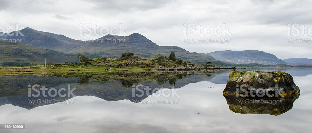 Highland mountains reflected in Loch Torridon stock photo