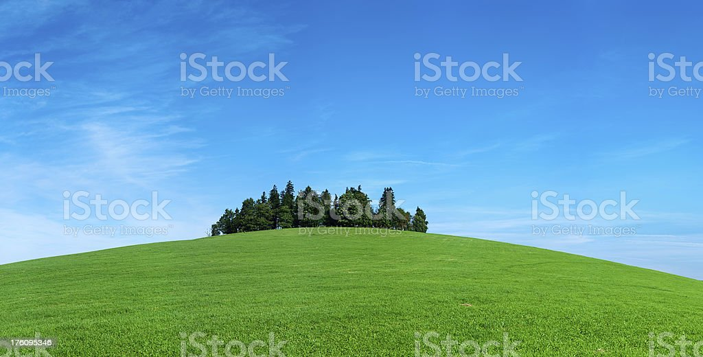 Highland scenery 83MPix XXXXL meadow, hill, forest, blue sky royalty-free stock photo
