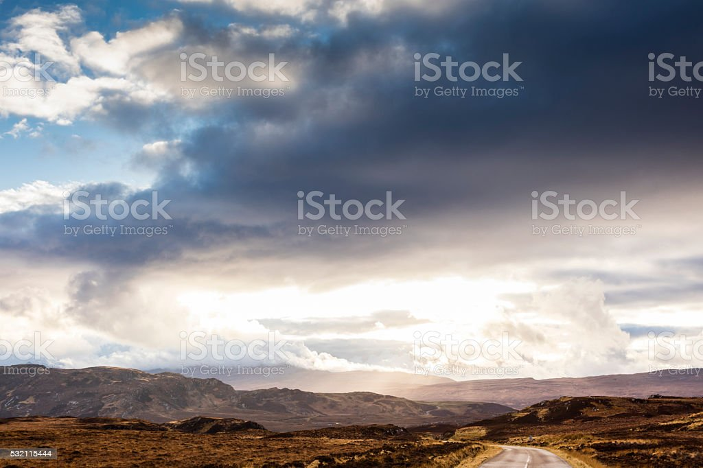 Highland, Scotland. Clouds and mountains along the A838 road stock photo