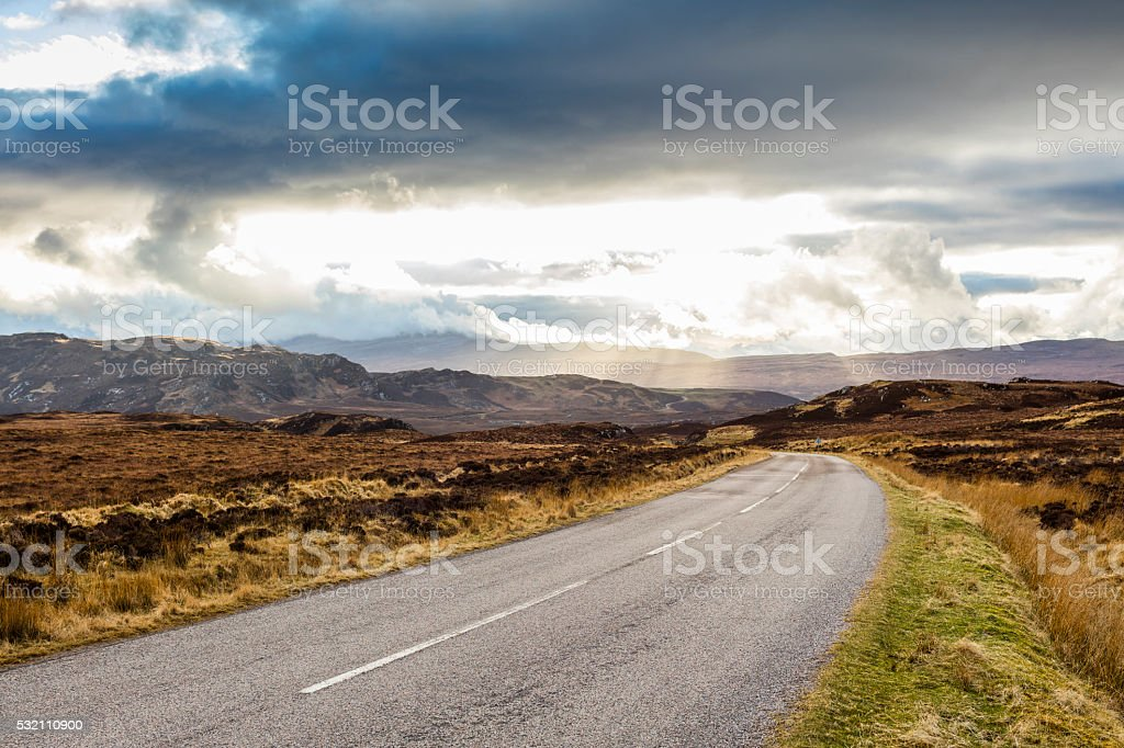 Highland, Scotland. The A838 road from Loch Eriboll and Tongue stock photo