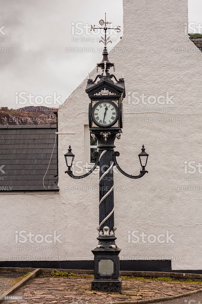 Highland, Scotland. Town of Ullapool. The Ullapool Clock stock photo