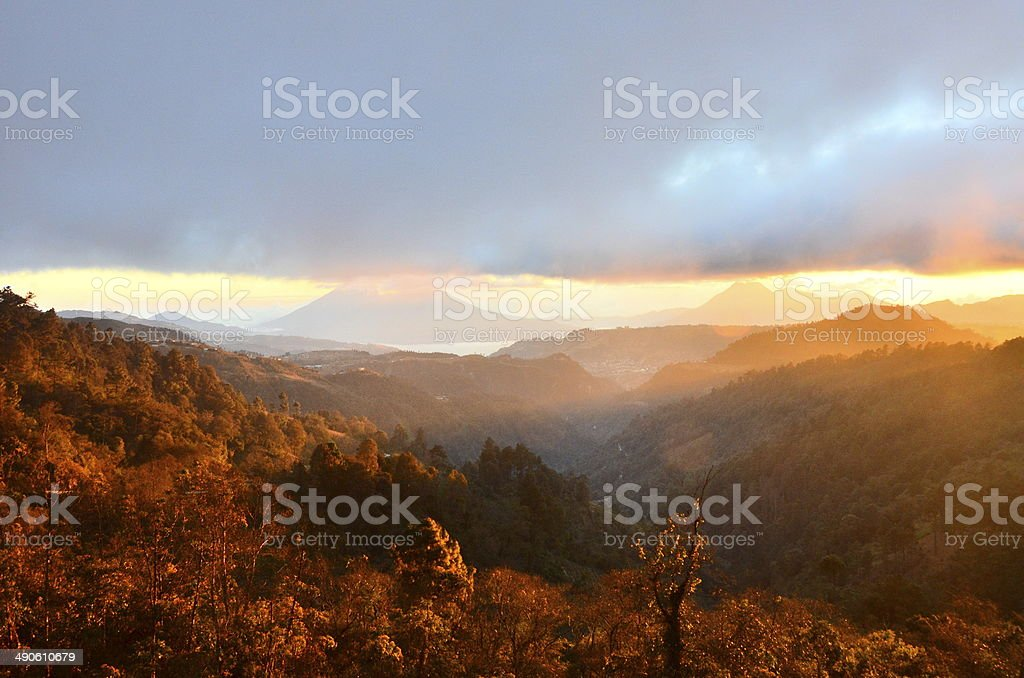 Highland with vulcanos in Guatemala stock photo