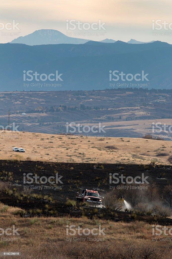 Highlands Ranch Colorado Chatridge Fire wildfire firefighter firetruck Douglas County stock photo