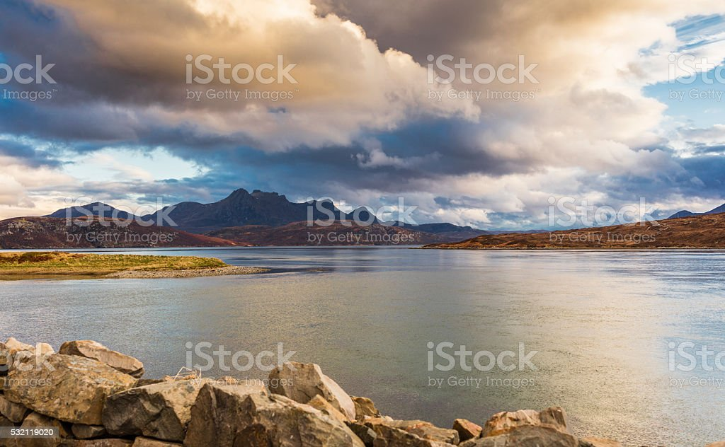 Highlands, Scotland. Ben Loyal from the Kyle of Tongue stock photo
