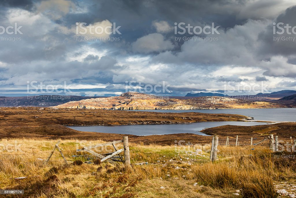 Highlands, Scotland. Clouds, sea, meadows and cliffs near Durness stock photo