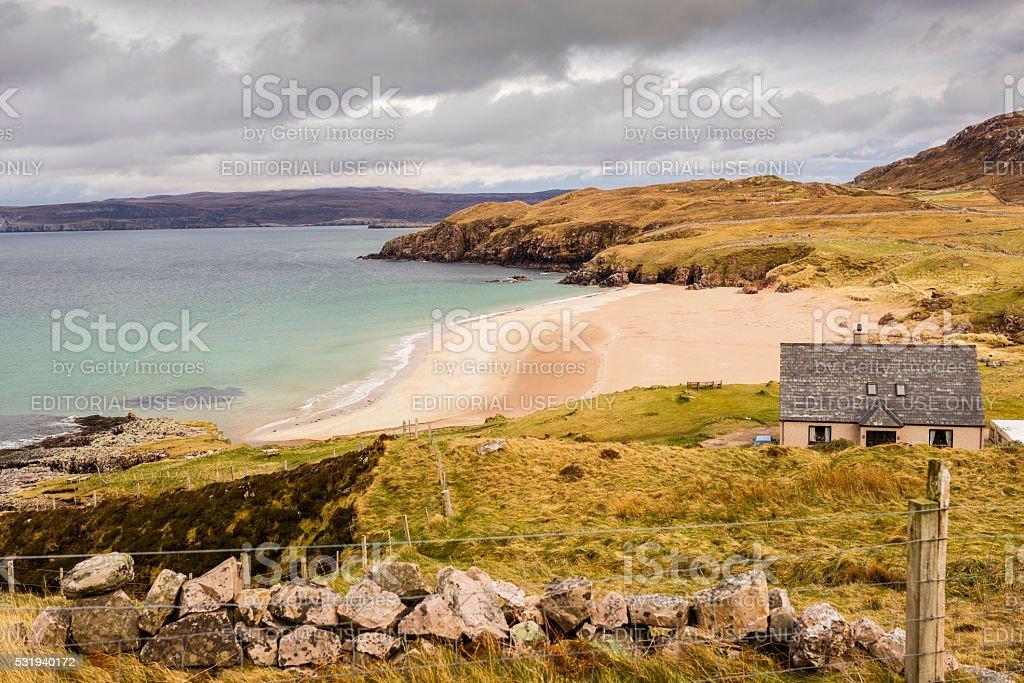 Highlands, Scotland. House, beaches and cliffs near Durness stock photo