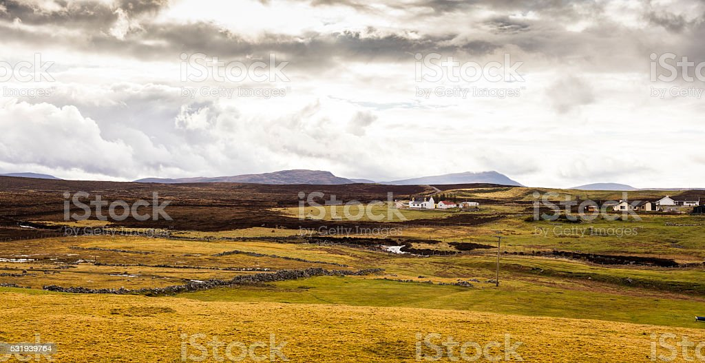 Highlands, Scotland. Landscape with houses and sheep stock photo