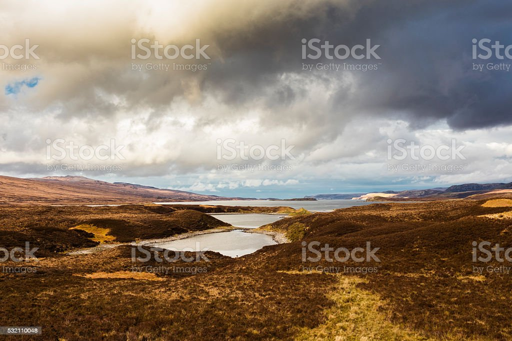 Highlands, Scotland. Overlook on Loch Eriboll along the A838 road stock photo