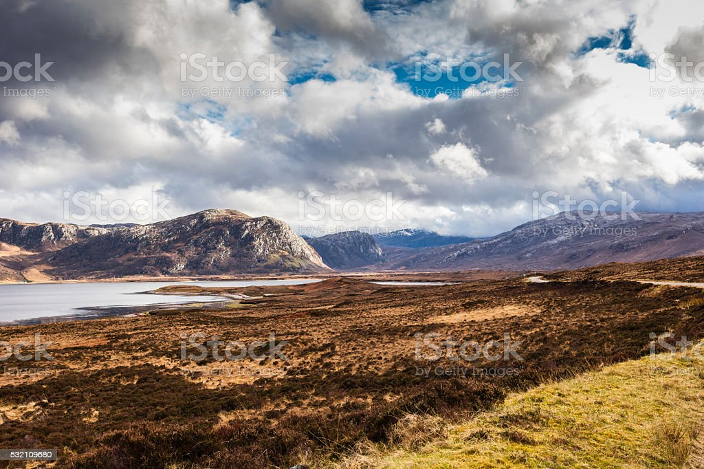 Highlands, Scotland. Overlook on Loch Eriboll with clouds and mountains stock photo