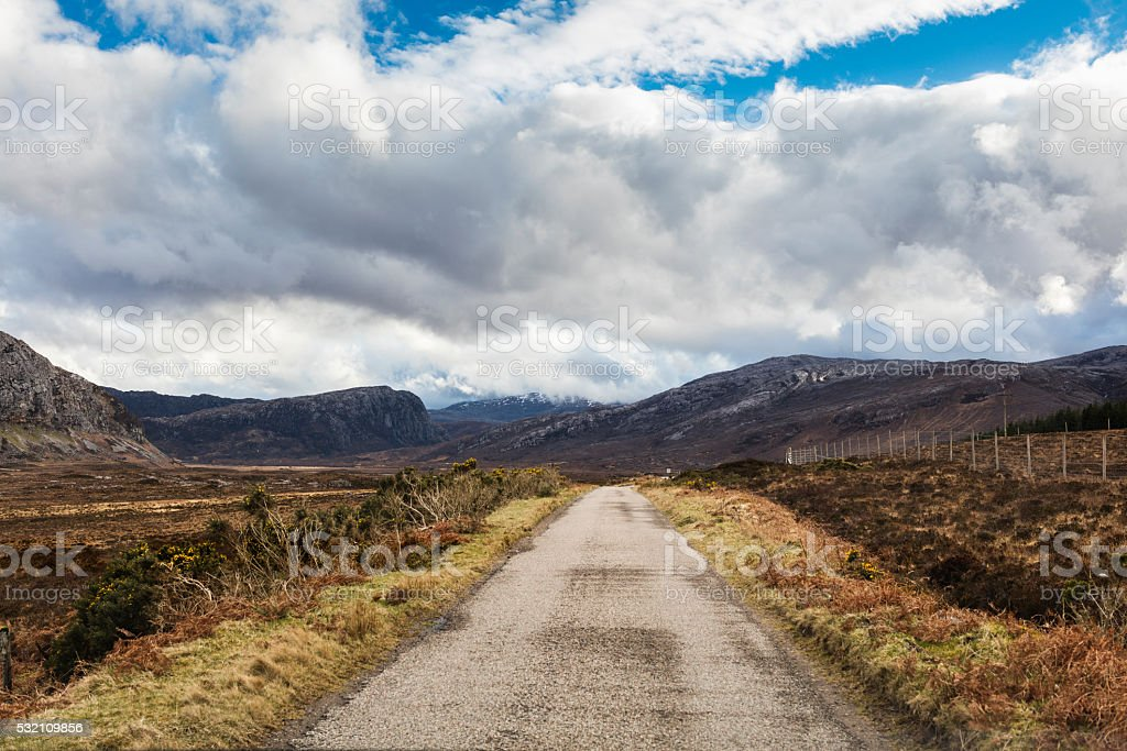 Highlands, Scotland. The A838 road near Loch Eriboll stock photo