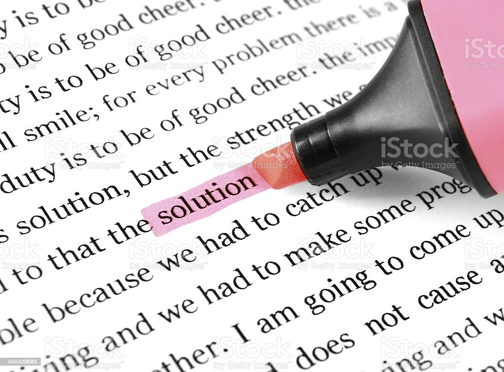 Highlight and word solution royalty-free stock photo